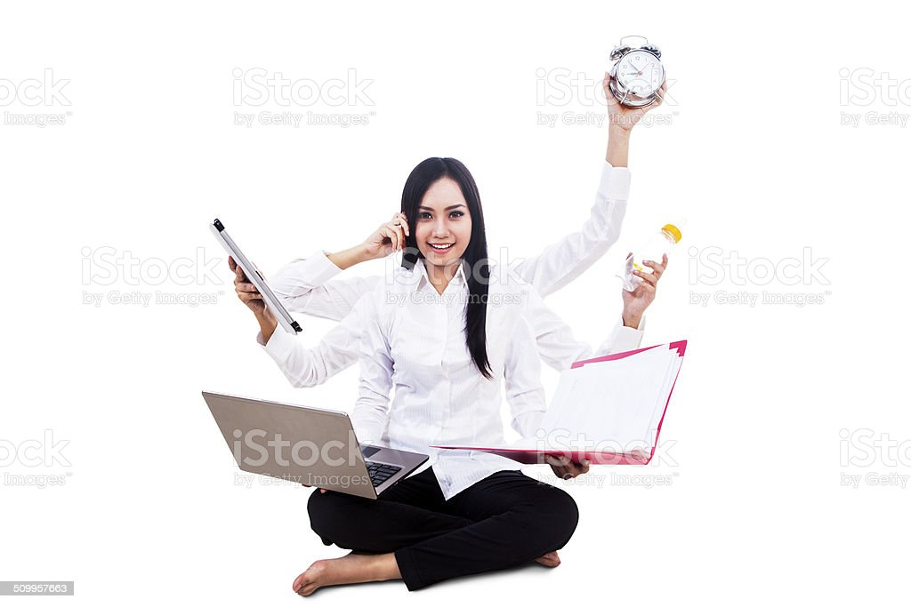 Businesswoman multitasking isolated stock photo