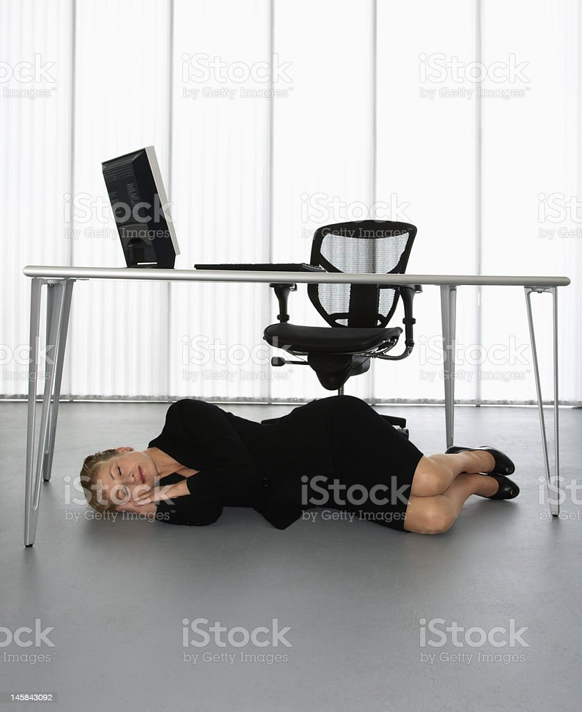Businesswoman napping. stock photo