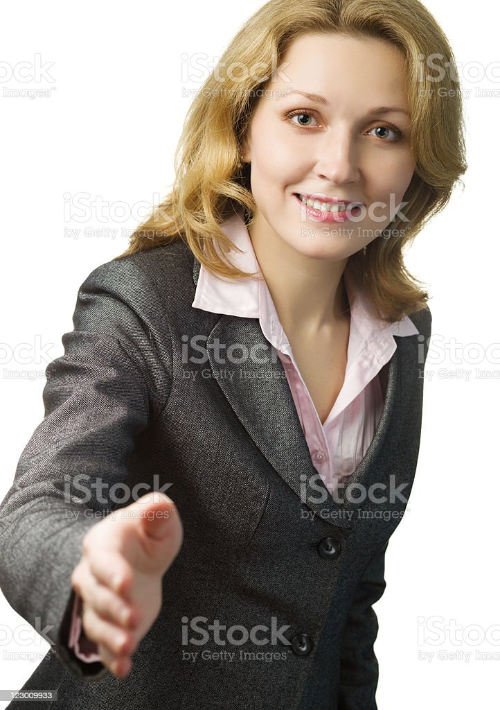 Businesswoman Offering Hand for Shaking stock photo
