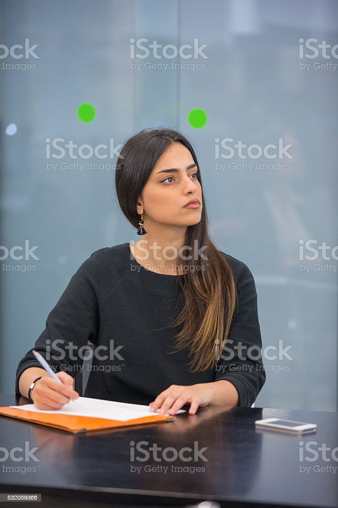 Businesswoman on a meeting stock photo