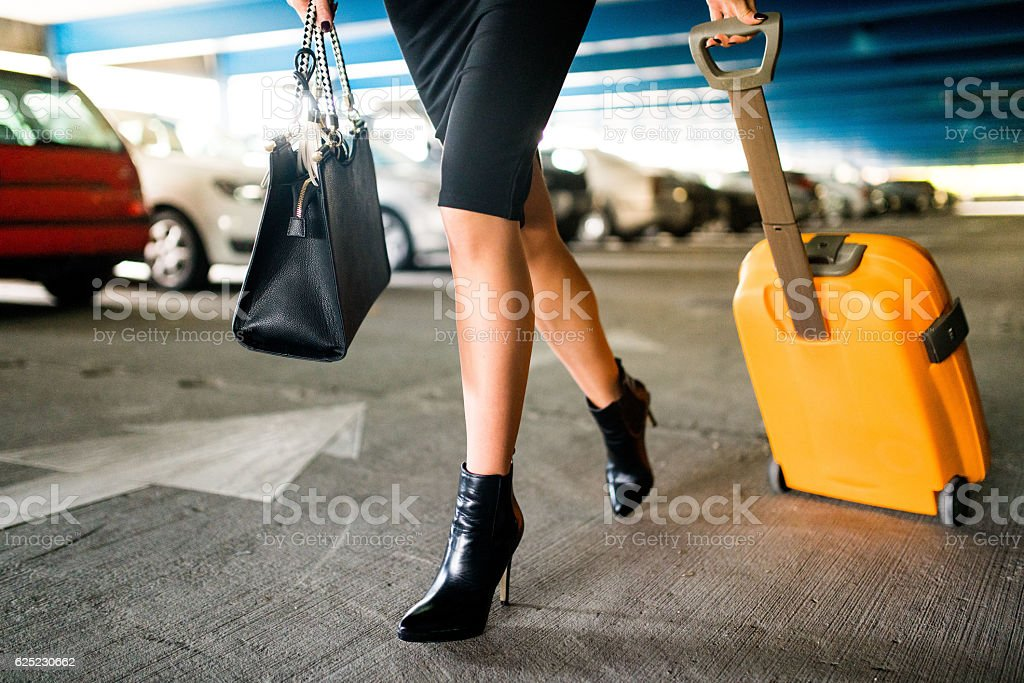 Businesswoman on the move stock photo