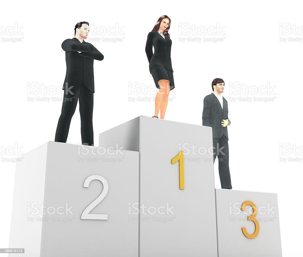 Businesswoman on the podium stock photo