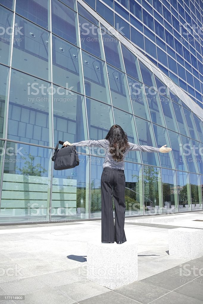 businesswoman open arms stock photo