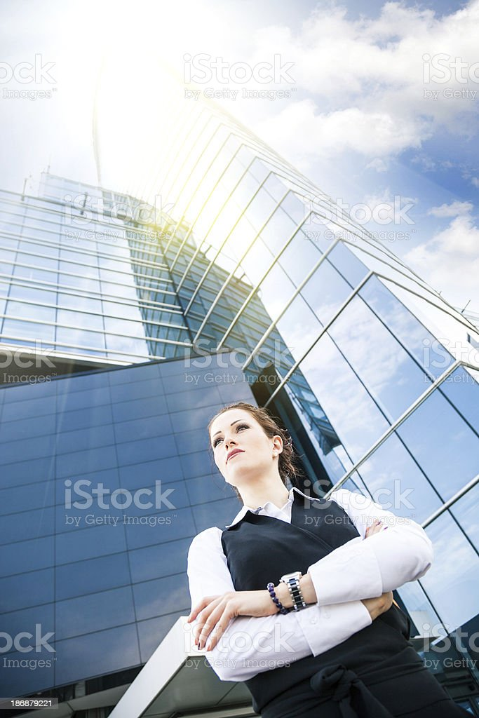 Businesswoman outside government office stock photo