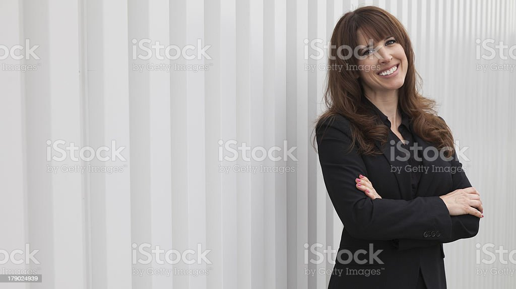 Businesswoman outside office building royalty-free stock photo