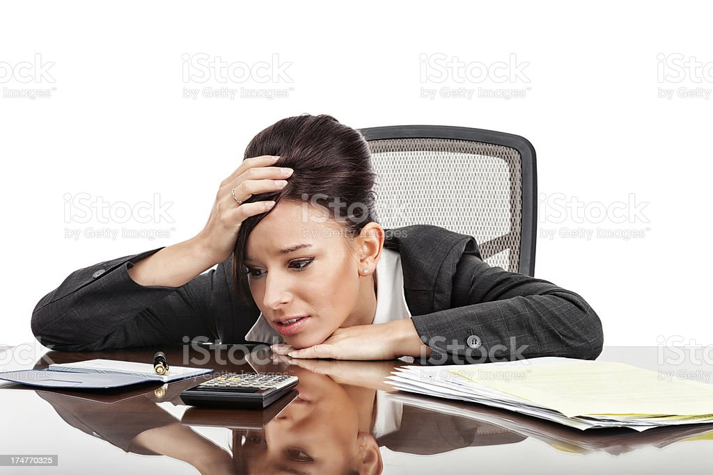 Businesswoman Overwhelmed by Bills royalty-free stock photo