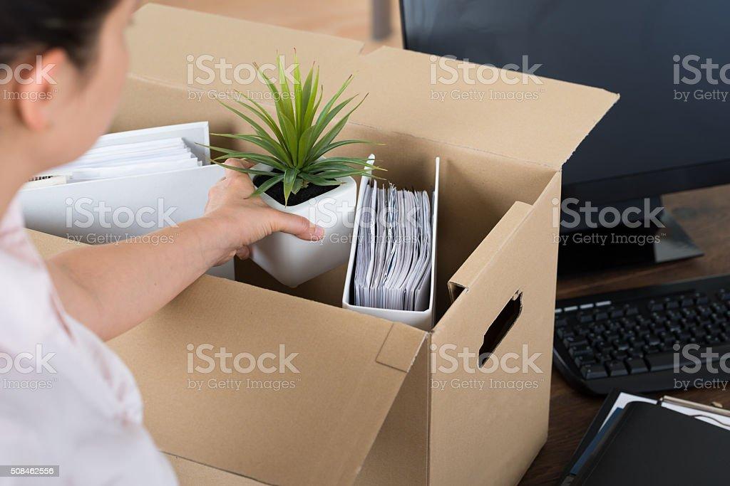 Businesswoman Packing Belongings In Cardboard Box stock photo