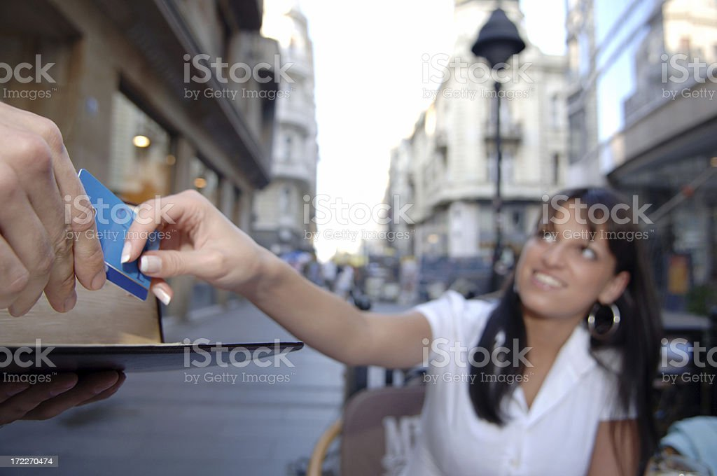 Businesswoman paying with credit card XL royalty-free stock photo