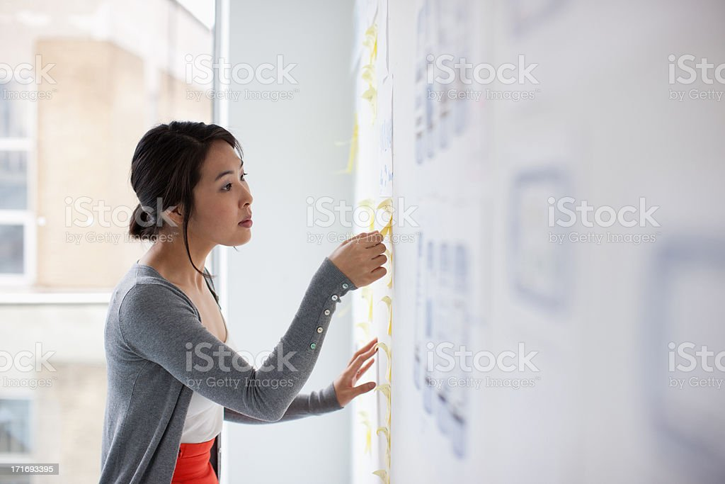 Businesswoman placing adhesive note on whiteboard stock photo