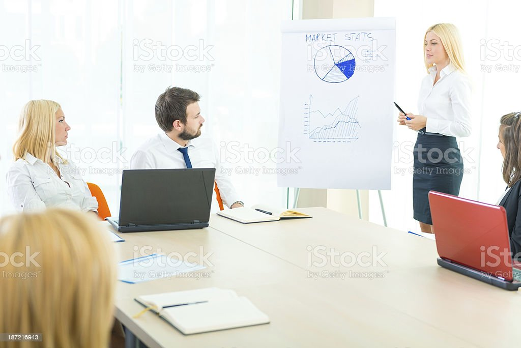 Businesswoman pointing at flipchart royalty-free stock photo