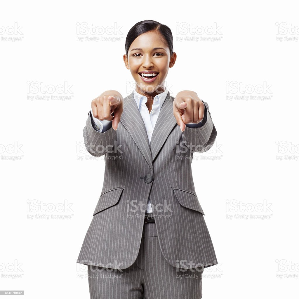 Businesswoman Pointing at the Camera - Isolated stock photo