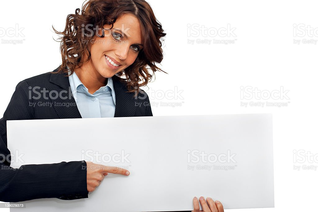 Businesswoman pointing at the placard royalty-free stock photo