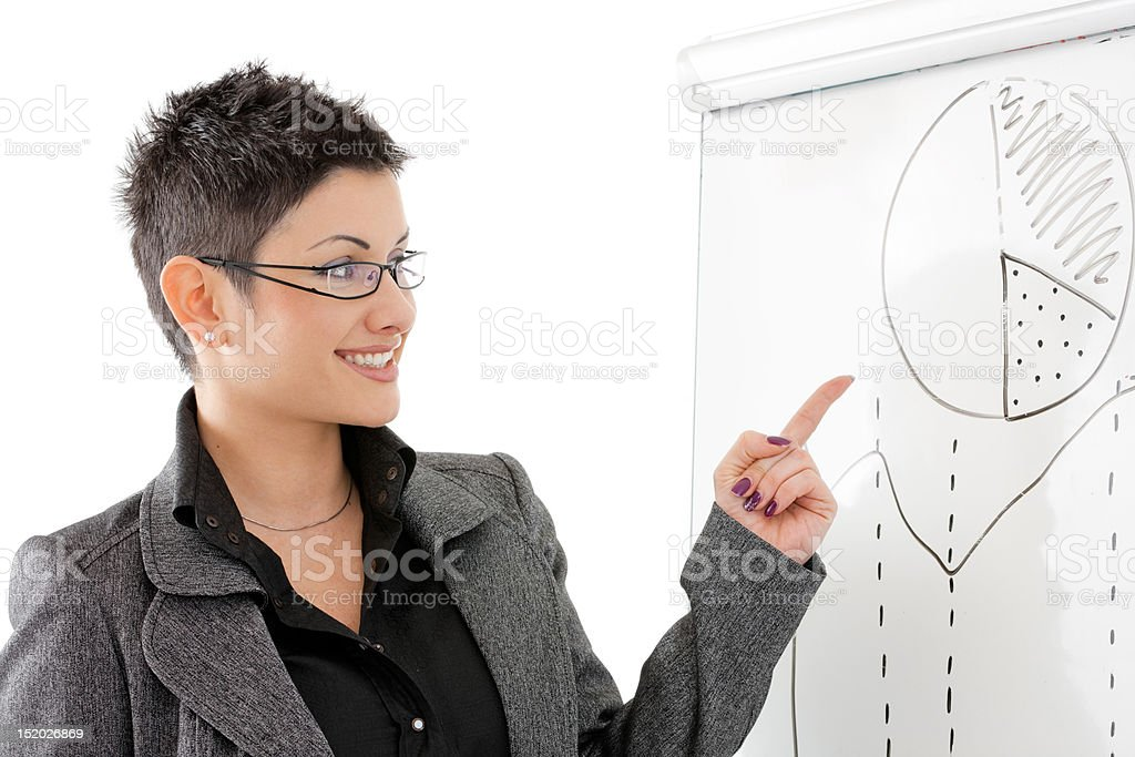 Businesswoman pointing at whiteboard royalty-free stock photo