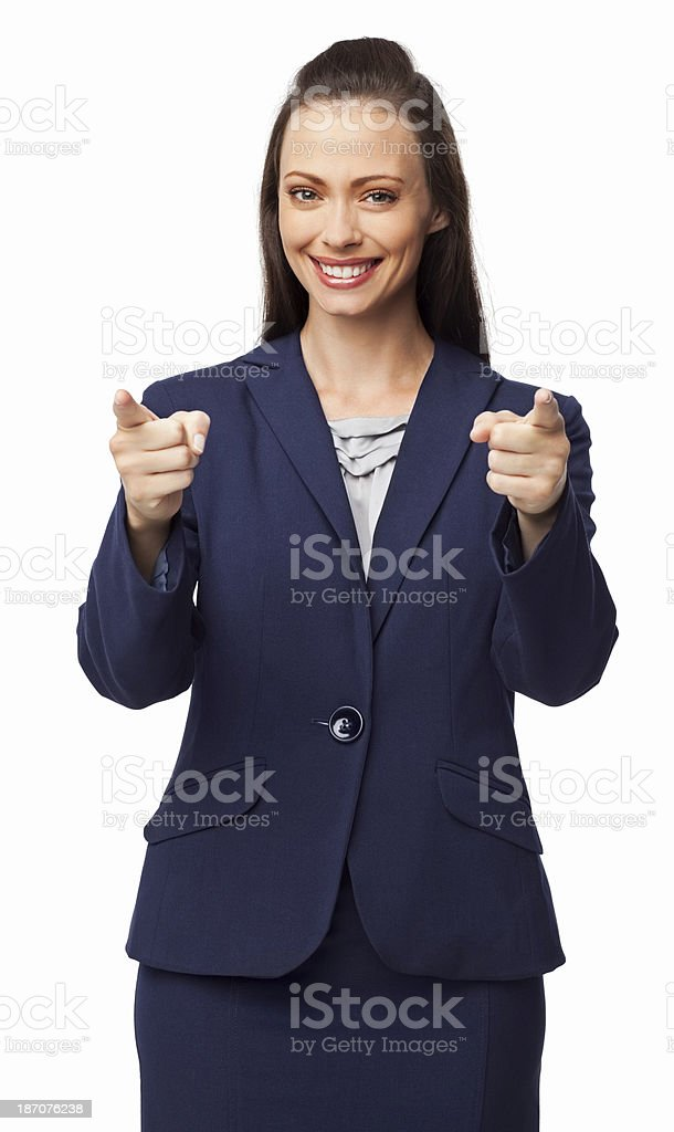Businesswoman Pointing At You - Isolated royalty-free stock photo