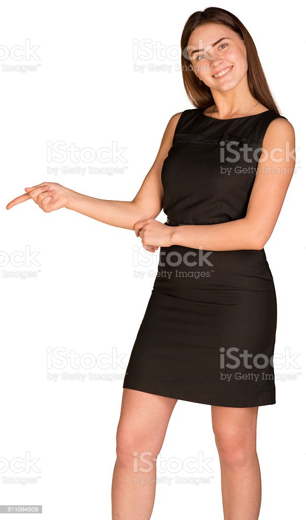 Businesswoman pointing her finger down stock photo