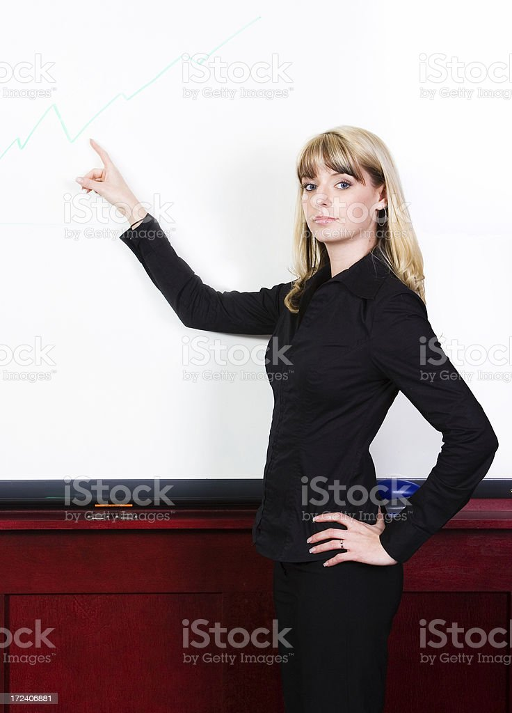 Businesswoman pointing to a graph royalty-free stock photo