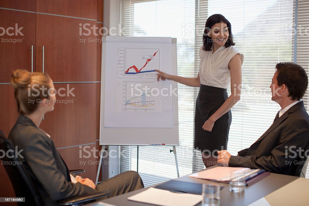 Businesswoman pointing to flipchart in conference room royalty-free stock photo