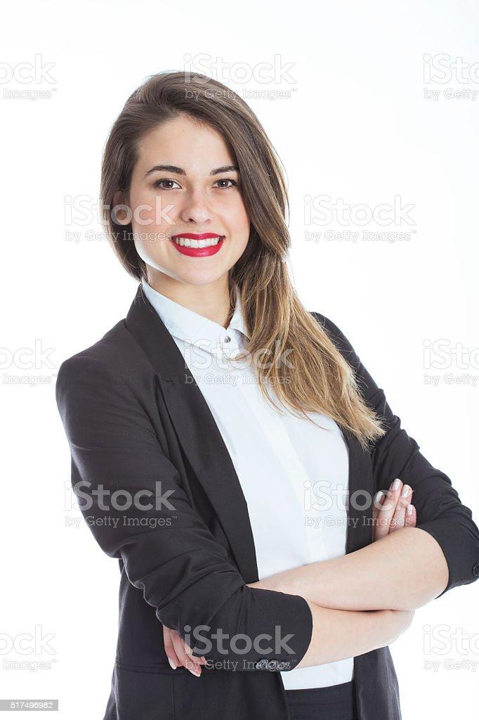 Businesswoman portrait on White stock photo