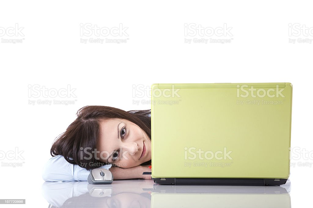 Businesswoman posing with laptop royalty-free stock photo