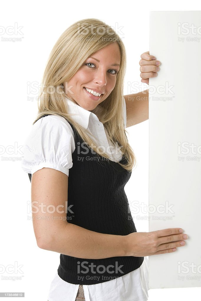 Businesswoman Poster Hold royalty-free stock photo