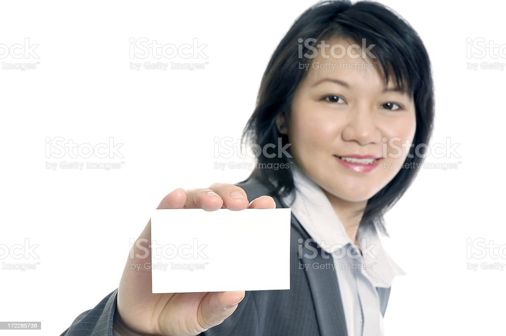Businesswoman Presenting Blank Card royalty-free stock photo