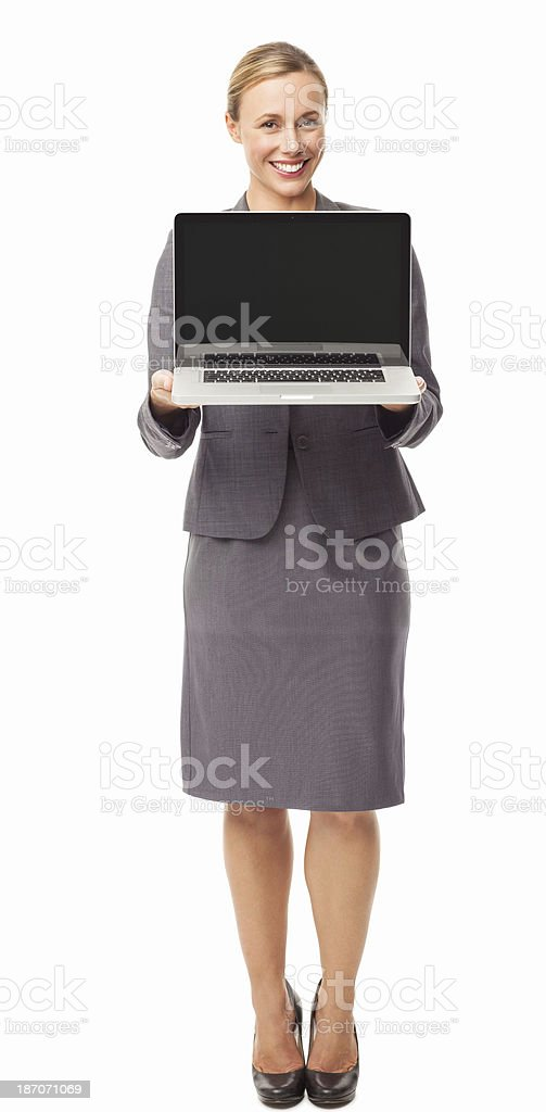 Businesswoman Presenting Laptop - Isolated royalty-free stock photo
