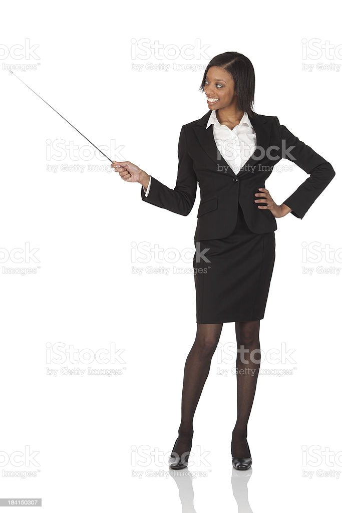 Businesswoman presenting stock photo