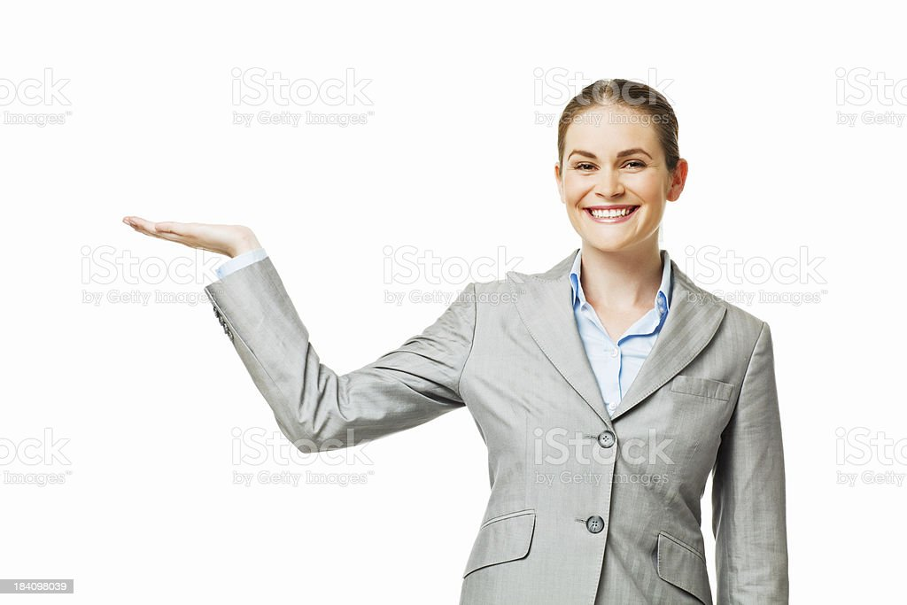 Businesswoman Presenting to the Side - Isolated stock photo