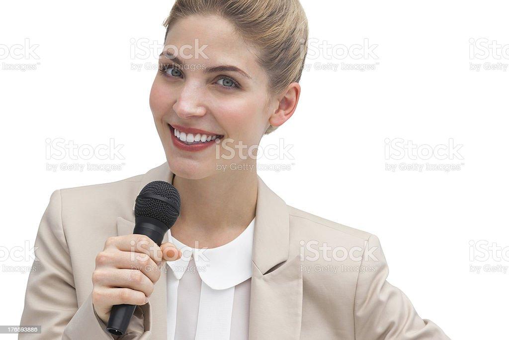 Businesswoman public speaking royalty-free stock photo