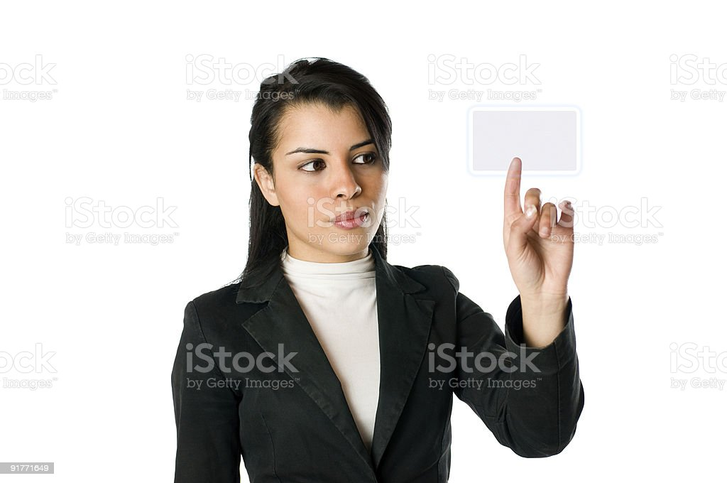 Businesswoman pushing a button royalty-free stock photo