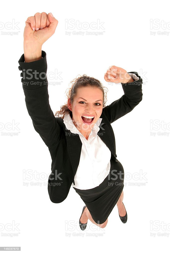 Businesswoman raising her hands royalty-free stock photo