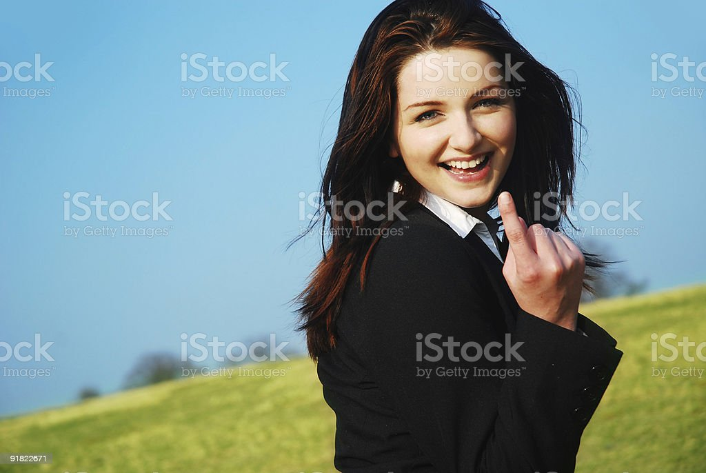 Businesswoman saying 'come with me'! stock photo
