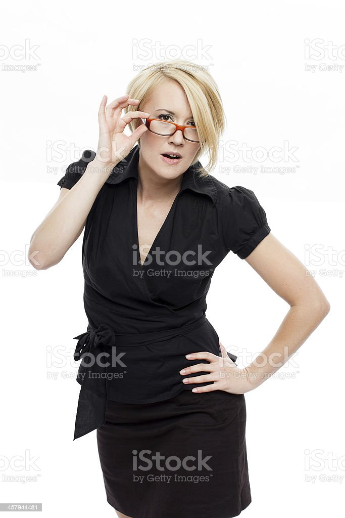 Businesswoman searching for solution royalty-free stock photo
