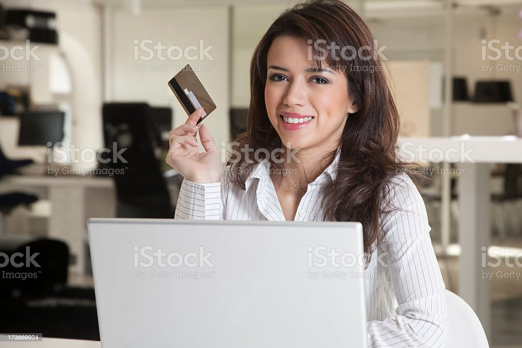 Businesswoman shopping online stock photo