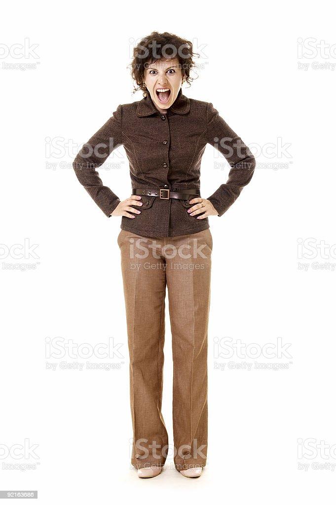 businesswoman shouts royalty-free stock photo