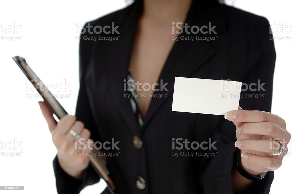 Businesswoman showing a card royalty-free stock photo
