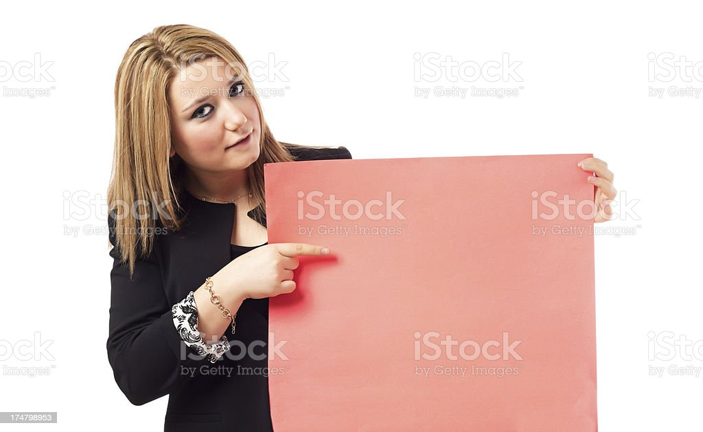 Businesswoman showing blank red paper royalty-free stock photo