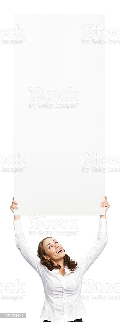 Businesswoman showing blank signboard, on white royalty-free stock photo