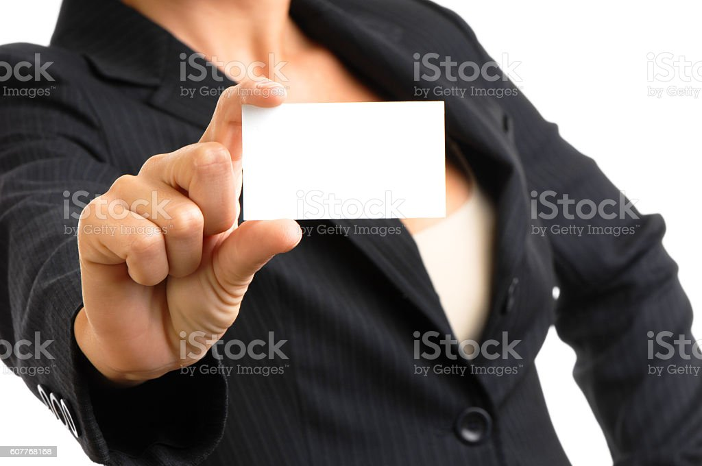 Businesswoman showing business card on white stock photo