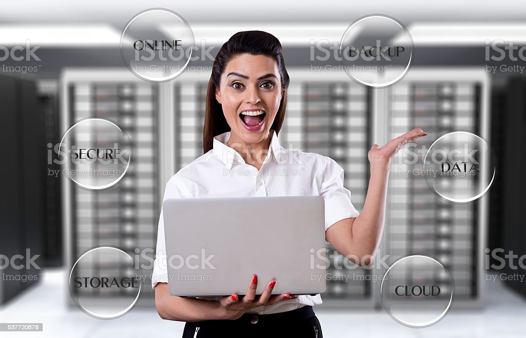 Businesswoman showing data centre services stock photo