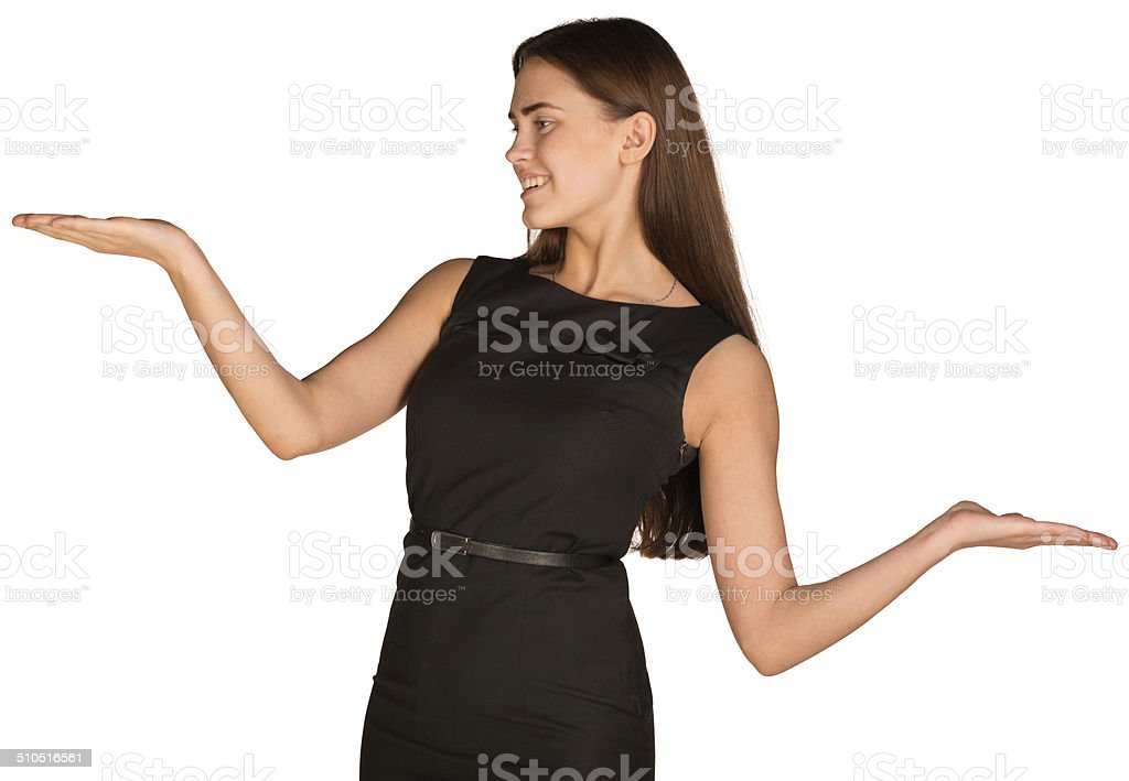 Businesswoman showing empty palms stock photo