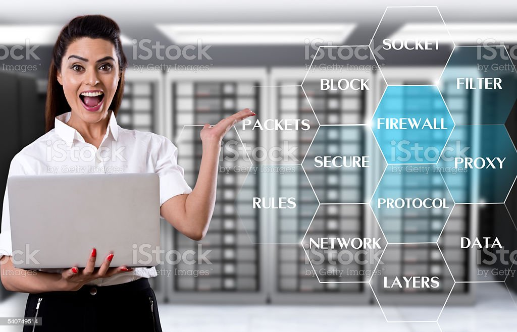 Businesswoman showing internet security word cloud stock photo
