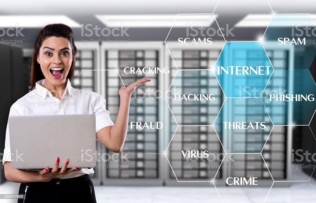 Businesswoman showing internet threats stock photo