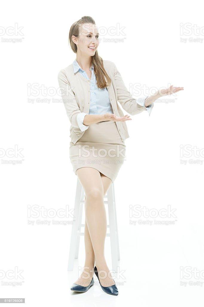 Businesswoman showing something stock photo