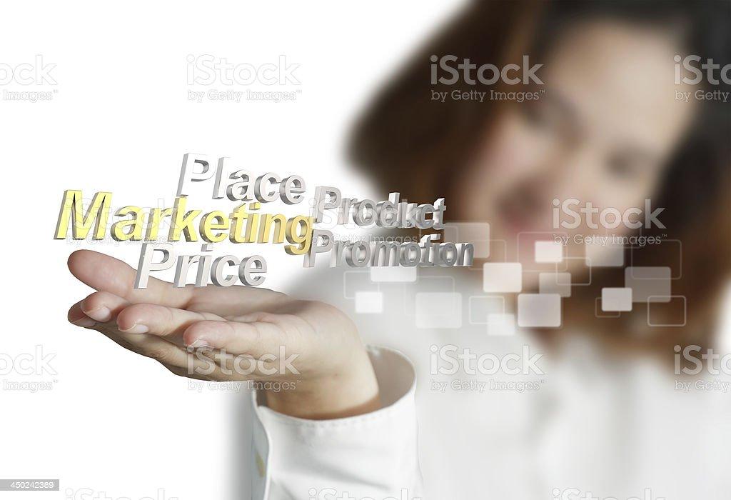businesswoman shows 3d metallic marketing4p royalty-free stock photo