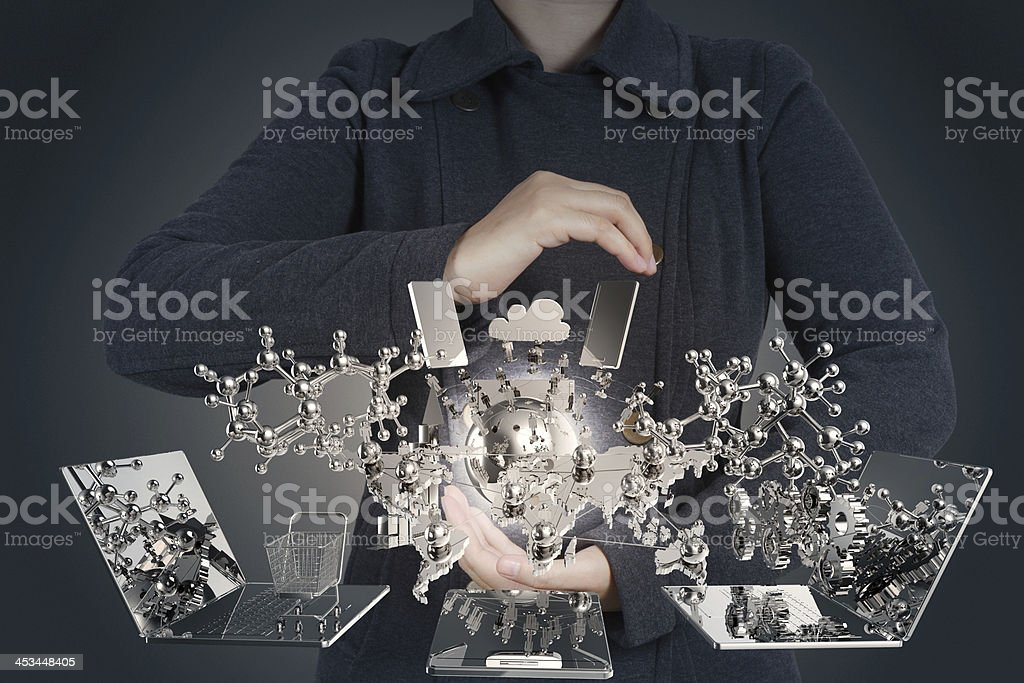 businesswoman shows modern technology stock photo