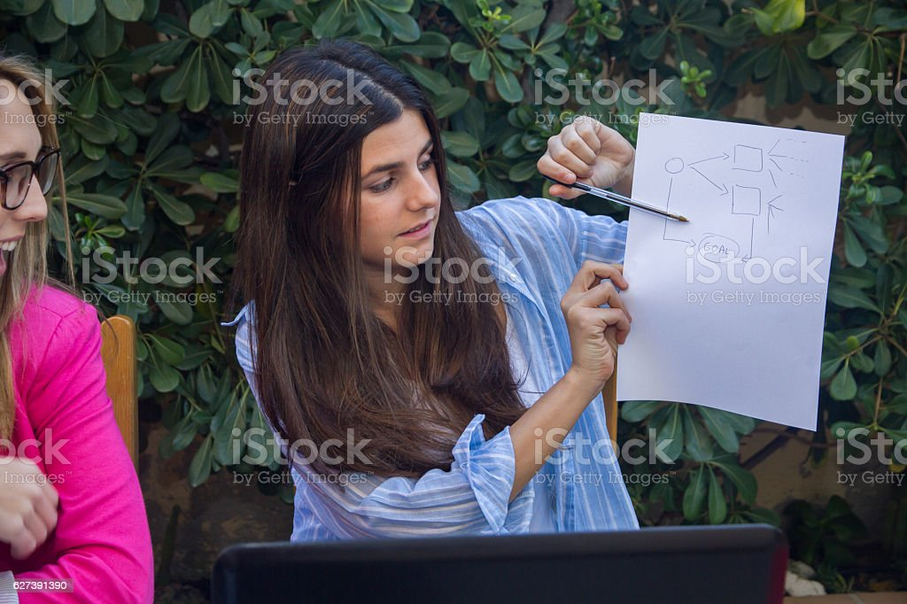Businesswoman shows the other co-workers an outline. stock photo