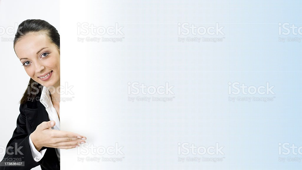 Businesswoman shows Title Board royalty-free stock photo