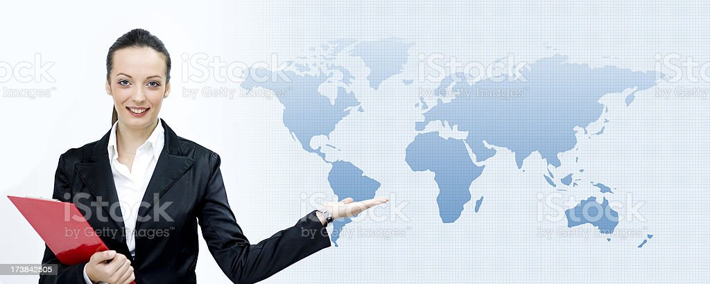 Businesswoman shows World royalty-free stock photo