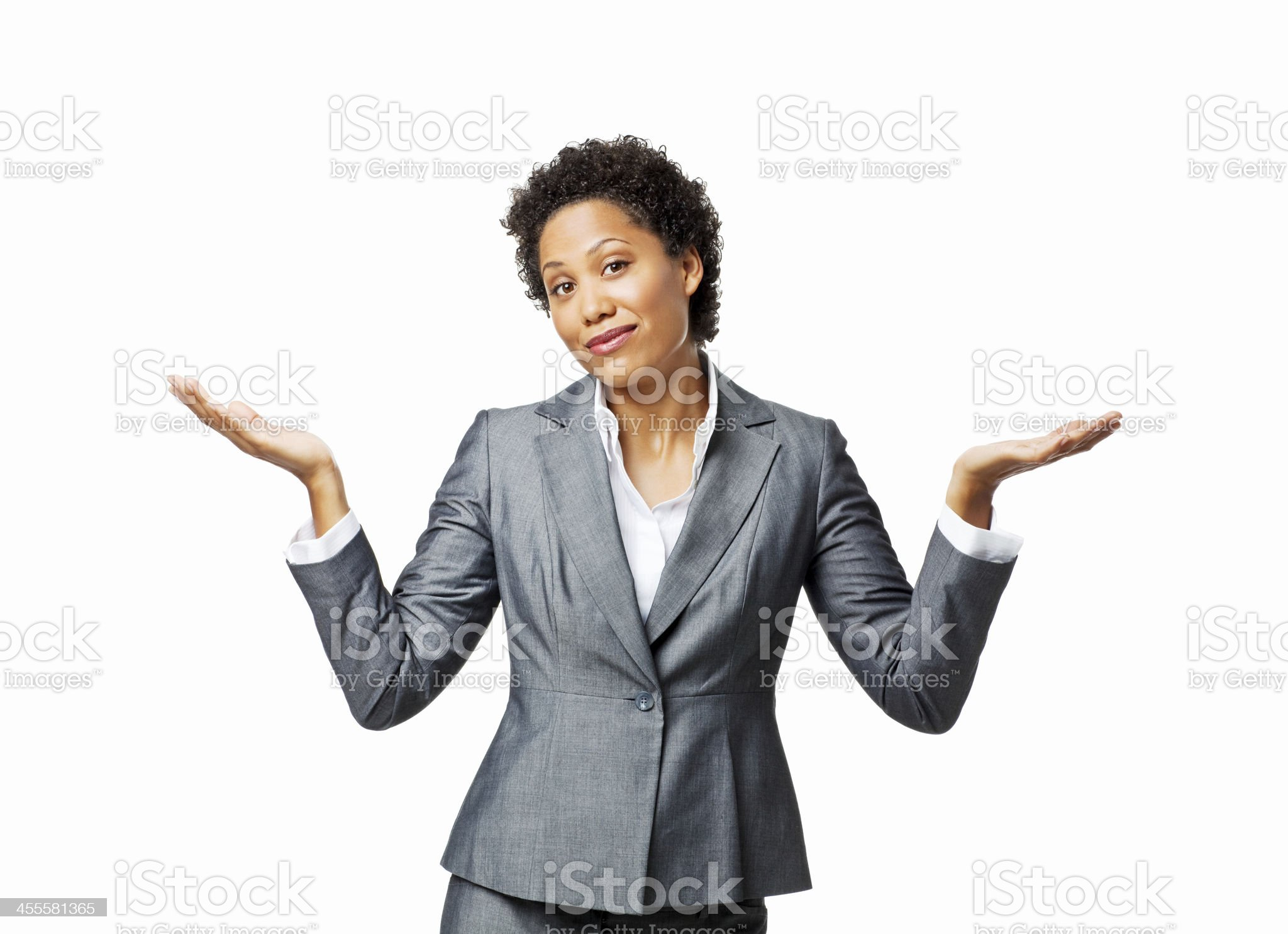 Businesswoman Shrugging Her Shoulders - Isolated royalty-free stock photo